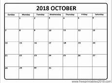 Free Printable Calendar October 2018 Free Printables 2018