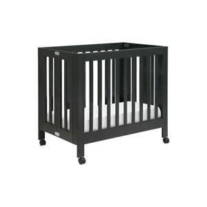 wooden portable crib babyletto origami portable wood mini crib in black