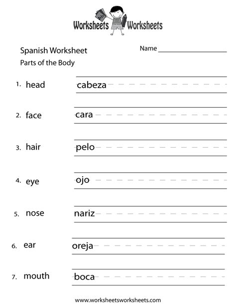 Free Spanish Worksheets  Online & Printable