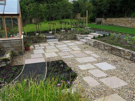 gravel garden  indian sandstone slabs blaydon