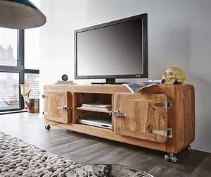 Tv Lowboard Rollen : fernsehtisch zakarya sheesham natur 155 cm rollen 2 t ren ~ Lateststills.com Haus und Dekorationen