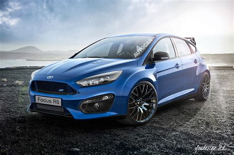 rendering  ford focus rs front photo blue color