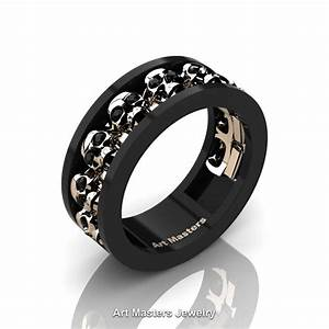 mens modern 14k black and rose gold black diamond skull With mens black diamond wedding ring