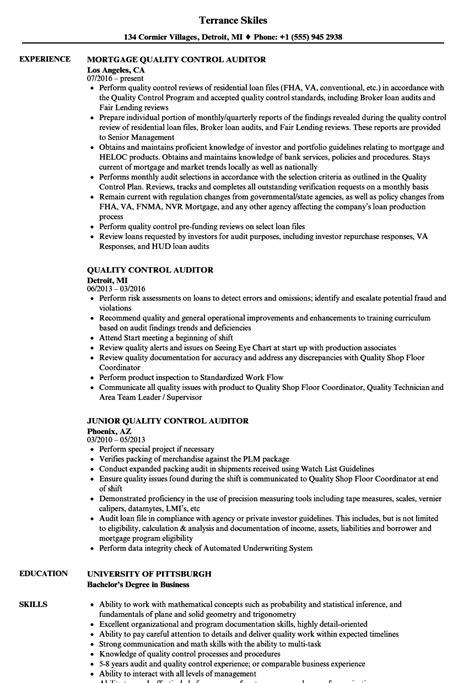 quality auditor resume sles velvet