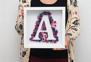 Framed wall art quilling quilled monogram a by paperparadisepl for Wall letter designs