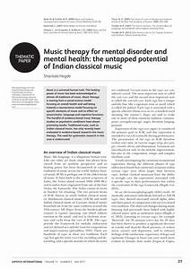 (PDF) Music therapy for mental disorder and mental health ...