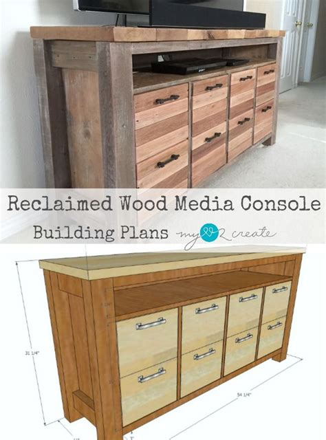 reclaimed wood media console ideas  pinterest