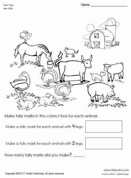 snapshot image of farm animal tally mark worksheet