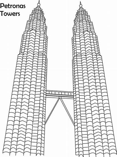 Petronas Clipart Towers Coloring Pages Twin Sketch