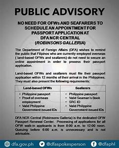 Dfa public advisory no appointment for ofws and seafarers for Documents required for passport 2017