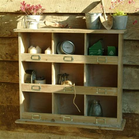 square rustic wooden pigeon hole unit garage cubby