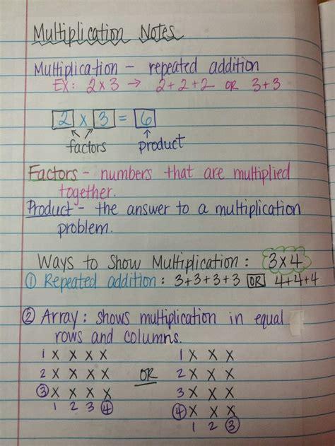 multiplication notes  making arrays  grade math