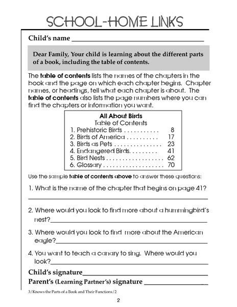 table of contents 2nd 3rd grade worksheet lesson pla