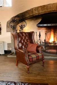 The, Dream, Chair, Leather, Georgian, Wingchair, With, A, Fabric, Tartan, Seat, By, James, And, Rose, Bespoke