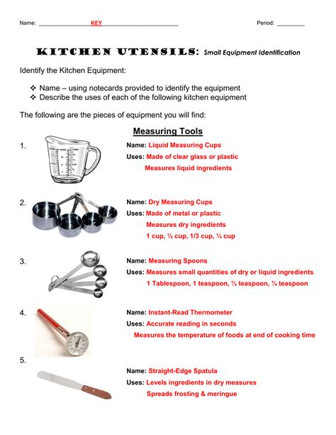 Kitchen Equipment Worksheet Answers by Chapter 9 Kitchen Utensils Worksheet Kitchen Utensils