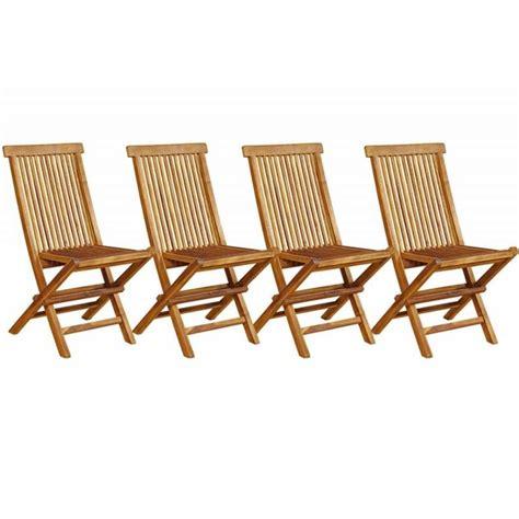 lot chaise de jardin lot de 4 chaises de jardin en teck huilé pliables et de