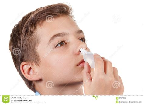 Boy Drips Medical Nose Drops Stock Photo