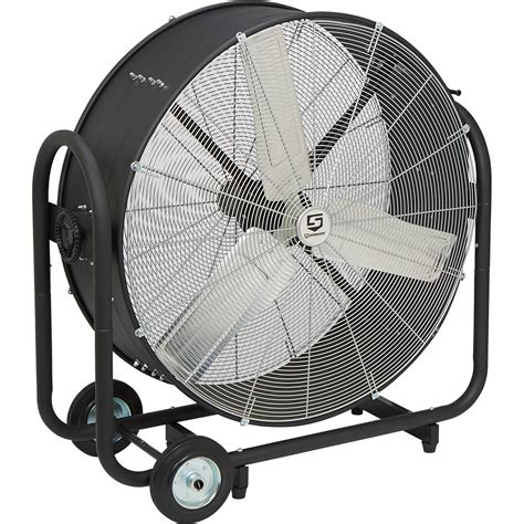 tractor supply shop fans strongway tilting direct drive drum fans 36in 9 600