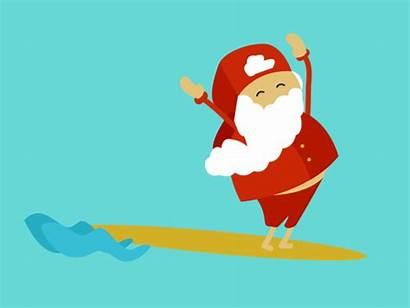 Santa Dribbble Surf Gifs Cruz
