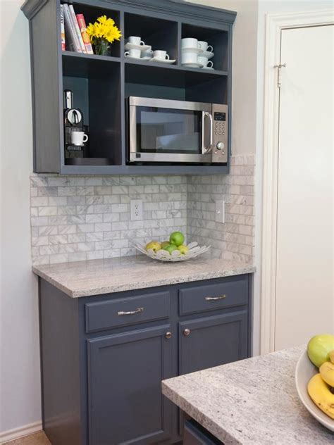 Built In Open Kitchen Shelving by Open Shelving Houses Microwave In Neutral Kitchen Hgtv