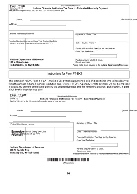 Form Ft Es Indiana Financial Institution Tax Return Estimated Quarterly Payment Indiana