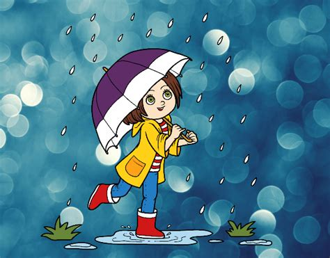Colored Page Girl With Umbrella In The Rain Painted By