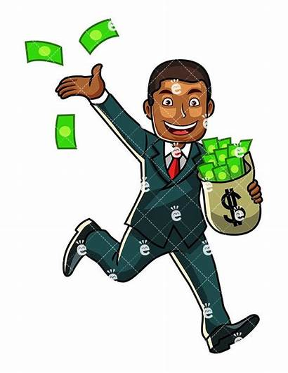 Wealthy Clipart Holding Clip Businessman Cartoon Bag