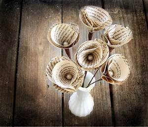 Items similar to 6 Vintage Book Page Stem Flowers -Paper ...