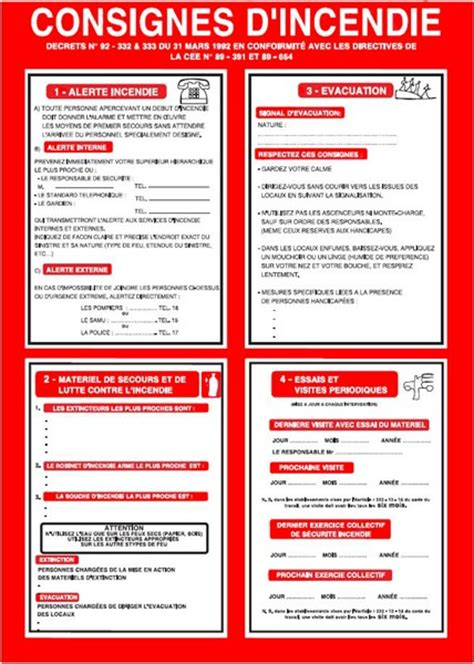 consigne d 180 incendie conforme 224 l 180 article r 4227 37