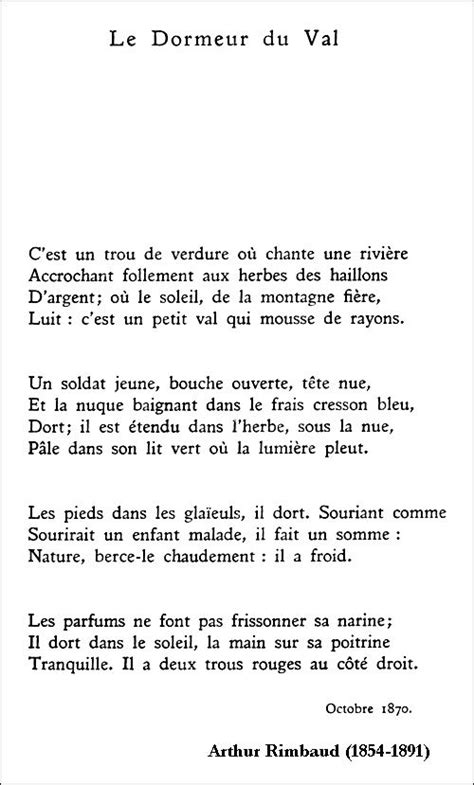 Rimbaud Le Dormeur Du Val by 25 Best Ideas About Poems On Quotes