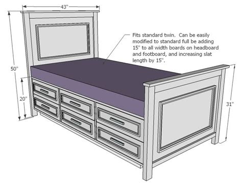 ana white build  fillman storage bed  drawers   easy diy project  furniture