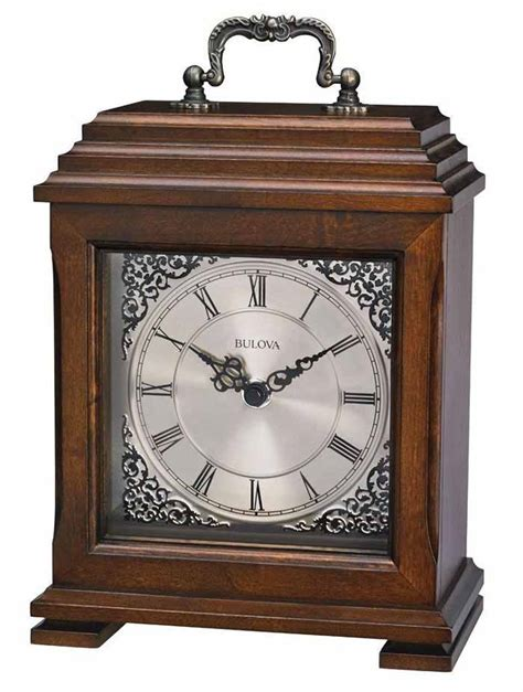 Bulova Table Clocks Wood by Bulova B1532 Document Carriage Style Mantle Clock The