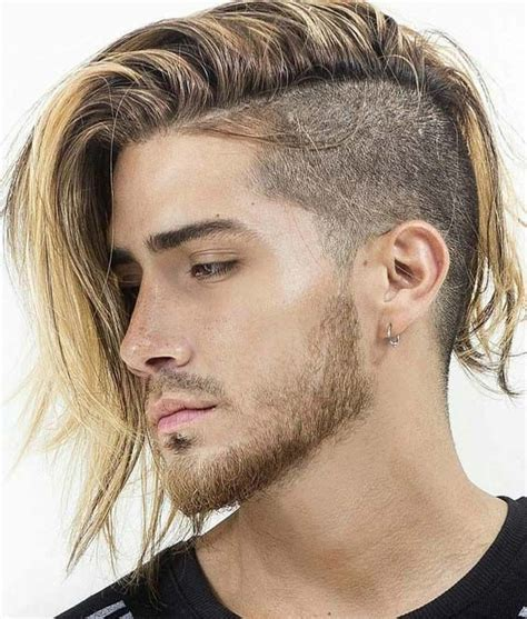 sensational side shaved long hairstyles  men