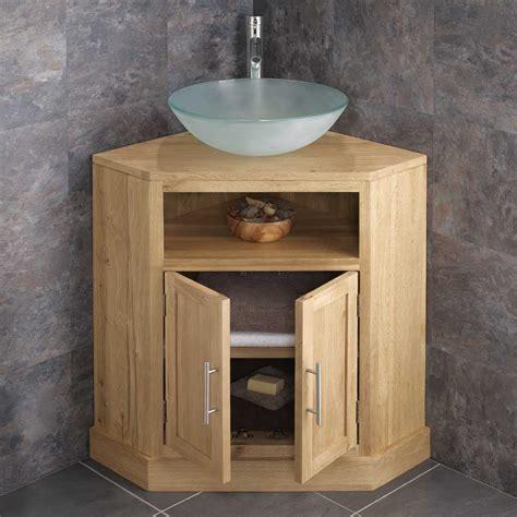 solid oak double door freestanding corner bathroom cabinet