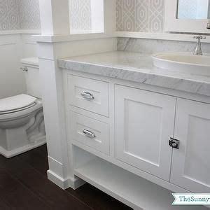 white vanity cabinet bathroom countertops wainscoting