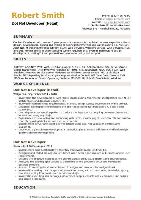 dot net developer resume samples qwikresume