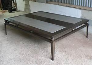 Table En Acier : table basse bois et m tal sur mesures ~ Teatrodelosmanantiales.com Idées de Décoration