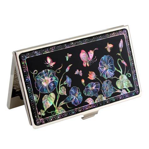 set porte cl 233 s porte cartes de visite nacre cor 233 en fleur convolvulvus bleu