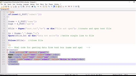 php script write text box input to the text file writing