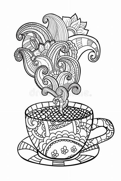 Coloring Coffee Cup Pages Tea Adult Abstract