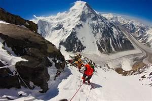 Climbers ascend K2's Black Pyramid of the Abruzzi Spur