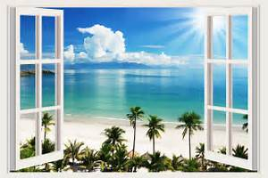 Small wall stickers tropical sea beach trees decals d