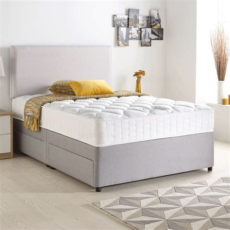 Suede Divan Bed Set With Memory Mattress And Headboard 3ft