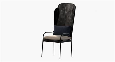restoration hardware iron wingback chair 3d model max