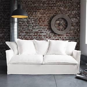 Canapé Blanc Tissu : canap blanc en tissu maisons du monde photo 1 8 son ~ Premium-room.com Idées de Décoration
