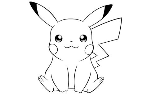 simple pikachu coloring pages