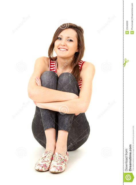 Sitting On The by Sitting On The Floor Length Stock Photo