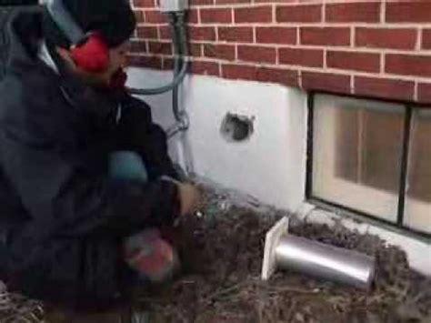 dryer vent installation  block wall youtube
