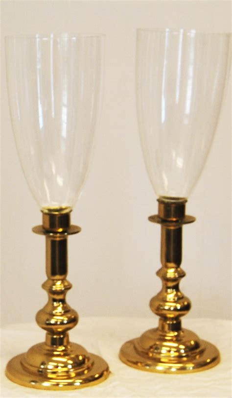 pair  victorian style hurricane candle holders