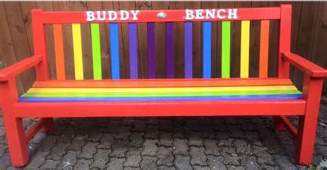 Setting Bench a buddy bench will help children to make friends